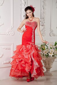 Red Mermaid Sweetheart Ankle-length Organza Evening Celebrity Dress with Ruffles