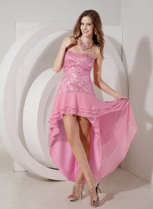 Discount Rose Pink High-low Strapless Chiffon Ladies Evening Dresses Sequined