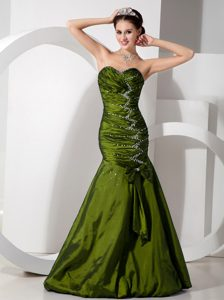 Exquisite Olive Blue Mermaid Sweetheart Beaded and Ruched Evening Wear Dress