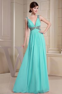 Beautiful V-neck Beaded and Ruched Formal Evening Dresses on Wholesale Price