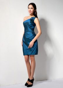 Cheap Blue One Shoulder Cocktail Evening Dress with Hand Made Flower