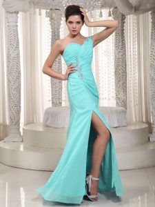 One Shoulder Chiffon Beaded and Ruched Women Evening Dress with High Slit