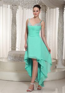 High-low Beaded Evening Wear Dresses with Spaghetti Straps on Wholesale Price