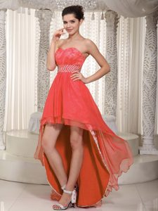 Empire Sweetheart High-low Lace Beaded Prom Evening Dress on Wholesale Price