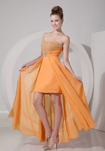 Sweetheart High-low Sexy Orange Beaded Prom Evening Dress for Spring on Sale