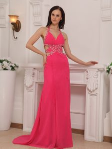 Halter Top Chiffon Beaded Evening Pageant Dress with Brush Train on Promotion