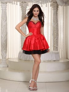 Red and Black Sweetheart Mini-length Organza and Beaded Evening Dress