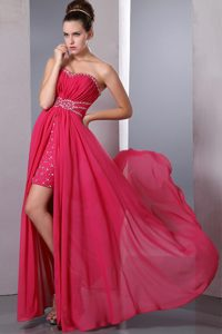 Red Sweetheart Chiffon Beaded and Ruched Semi-formal Evening Dress