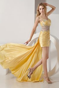 Sexy Yellow Straps High-low Cocktail Evening Dresses with Beading and Ruching