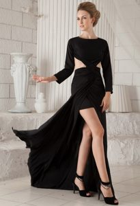 Special Black High Low Brush Train Chiffon Evening Dresses with Long Sleeves