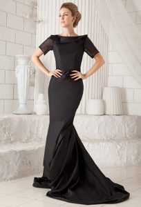 Black Mermaid Bateau Formal Evening Dresses with Brush Train for Cheap