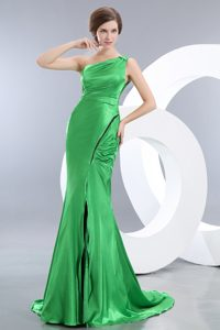 Green Mermaid One Shoulder Elastic Woven Satin Prom Evening Dress for Cheap
