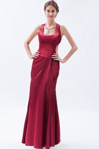 Beautiful Wine Red Square Satin Evening Dresses for Women for Cheap