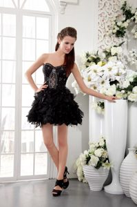 Black A-line Sweetheart Short Organza Beaded and Lace Evening Party Dresses