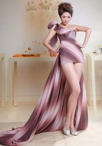 One Shoulder High-low Beaded Evening Dress Under 100 in Ombre Color