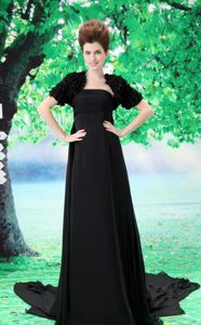 Fitted Black Strapless Evening Dresses for Women with Ruche