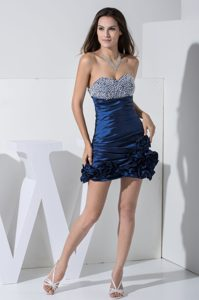 Beaded Sweetheart Blue Cheap Evening Dresses with Ruche and Flowers