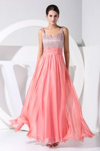 Silver and Watermelon Straps Sequin and Chiffon Designer Evening Dress