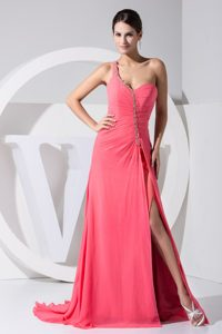 Watermelon Evening Dress Under 100 with Slit on The Side and Beading
