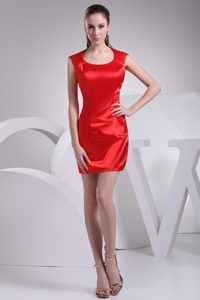 Elegant Mini-length Sheath Evening Dresses Patterns in Red with Scoop