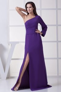 Ruched Purple Womens Evening Dress with One Long Sleeve and High Slit