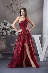 Wine Red and black High Low Ladies Evening Dress in Leopard and Print
