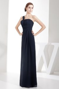 Hot One Shoulder Navy Blue Evening Dress Patterns with Ruche