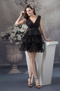 Black Organza V-neck Cheap Evening Dress with Ruffle-layers and Ruche