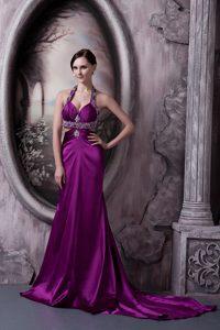 Beaded Pretty Eggplant Purple Evening Dress Under 100 in Silk Like Satin