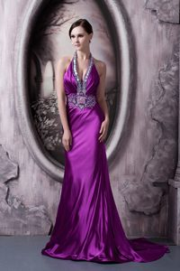 Affordable Eggplant Purple Appliqued Evening Dresses in Silk Like Satin