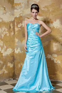 Aqua Blue Sweetheart Beaded Women s Evening Dress in