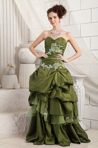 Appliqued Sexy Olive Green A-line Evening Gown Dress with Sweetheart