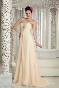 Champagne Empire Sweetheart 2013 Evening Wear Dresses with Beading