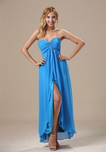Sweetheart High Slit Ankle-length Blue Chiffon Prom Homecoming Dress for Cheap