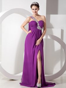 Purple Empire One Shoulder Chiffon Prom Party Dresses with Beading and Ruching