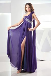 Purple One Shoulder Chiffon Prom Holiday Dress with High Side Slit and Beading