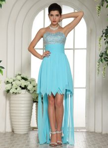 Most Popular Aqua Blue Beaded Sweetheart High-low Prom Party Dress