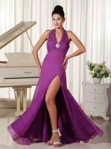 2013 Brand New Halter Top High Slit Purple Celebrity Dress with Ruching