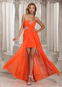 Beaded High Low Chiffon Cute Strapless Empire Prom Attire in Orange Red