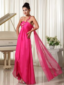 Discount One Shoulder Hot Pink High Low Prom Dress with Watteau Train