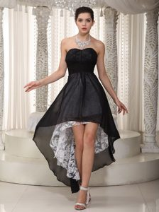 Sweet Black Empire Sweetheart High Low Prom Gown and Lace