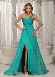 One Shoulder High Slit Ruched and Beaded Cheap Prom Dress in Turquoise