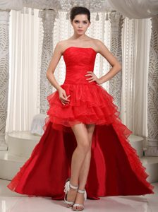 Red Strapless High Low One Shoulder Semi-formal Prom Dress for Cheap