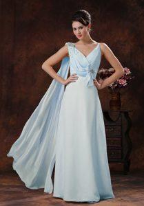 Custom Made V-neck Watteau Train Chiffon Dress for Prom in Light Blue