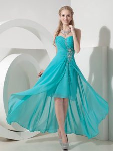 High Low Sweetheart Beaded Chiffon Pretty Prom Gown Dress in Turquoise