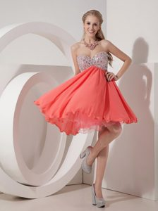 Beautiful Rust Red Empire Sweetheart Prom Dress in Organza and Chiffon