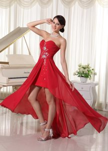 Discount High Low Beaded Sweetheart Chiffon Prom Attires with Ruching
