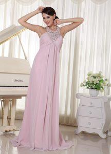 Baby Pink Halter Beaded Brush Train Prom Dresses for Cheap