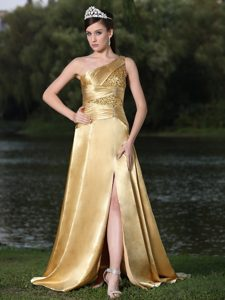 Custom Made High Slit Gold Plus Size Prom Gown Dress with One Shoulder