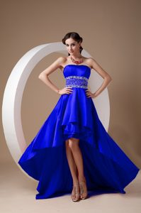 Beautiful High Low Royal Blue A-line Beaded Prom Dresses with Strapless